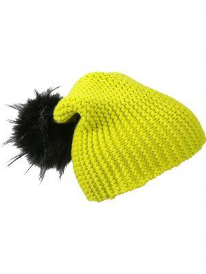 bonnet-pompon-fausse-fourrure-jaune-bewellonline