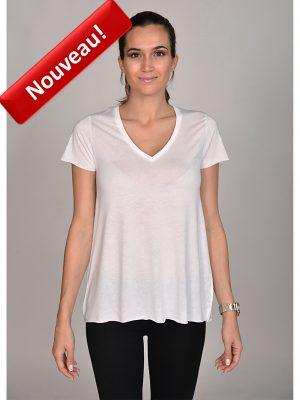 02 - COTTON MADE t shirt col v 120 blanc GENERAL