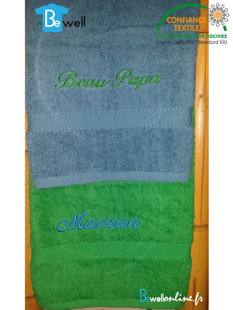 TC003 serviette de toilette bright green brodée