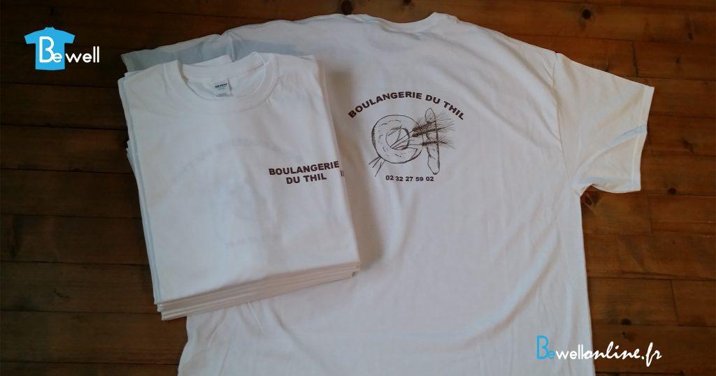 Impression numérique sur tshirt boulangerie bewellonline