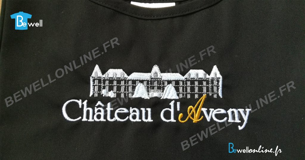 broderie chateau sur tablier bewellonline