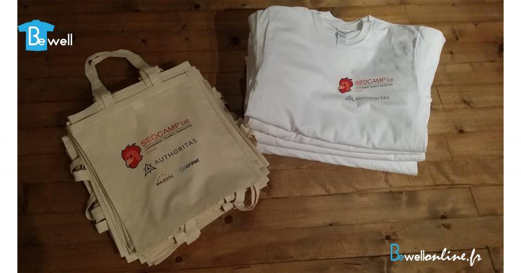 Transfert sérigraphique sur t-shirt et sac tot bag bewellonline