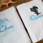 Broderie cygne moto et prénom sur serviette de bain