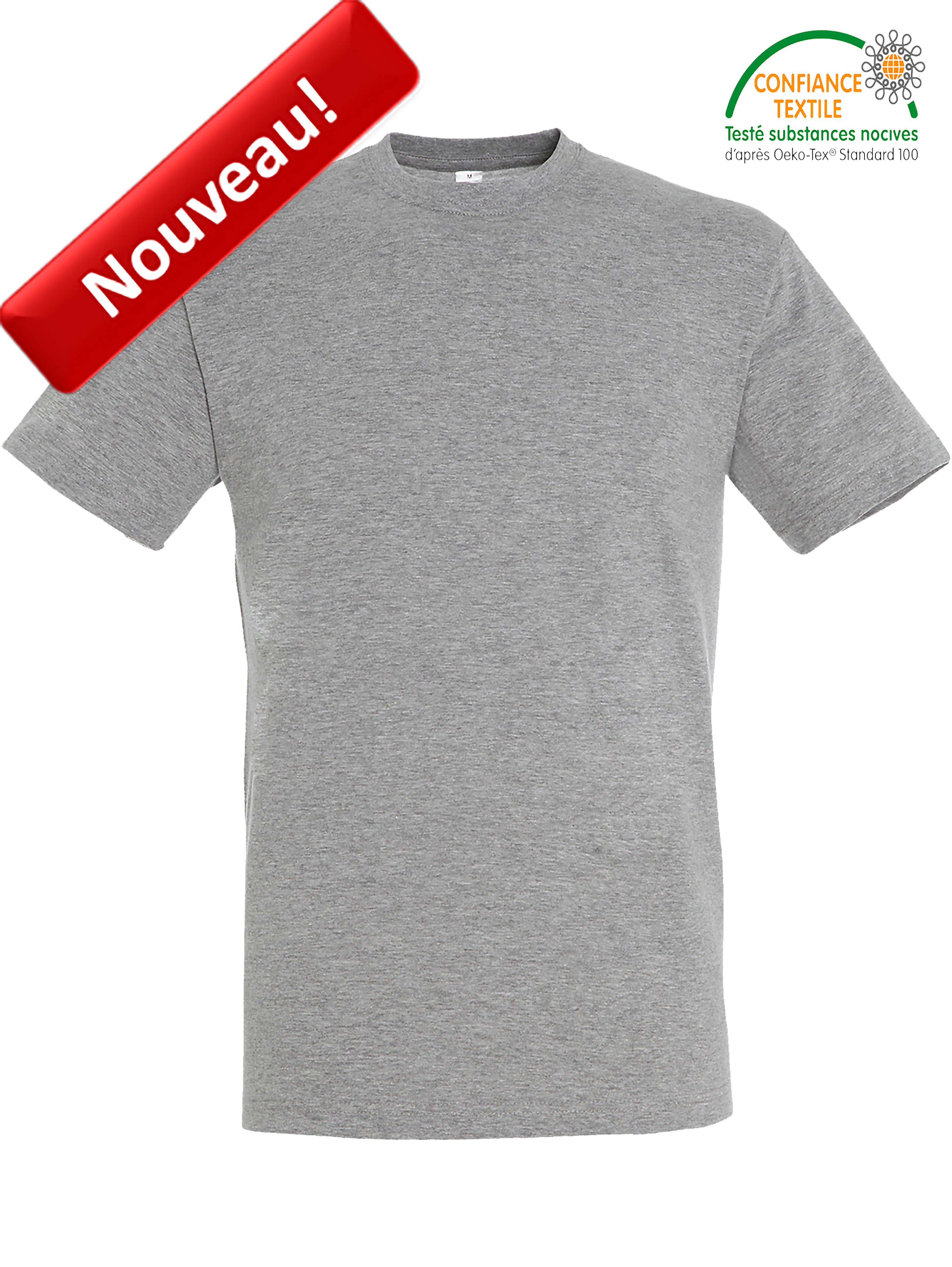 T-shirt SOLS REGENT-11380 Gris chiné nouveau