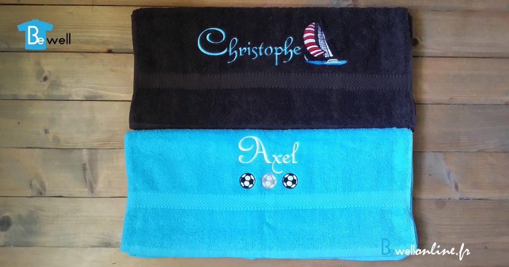 broderie sur serviettes cadeau prénom bateau football bewellonline