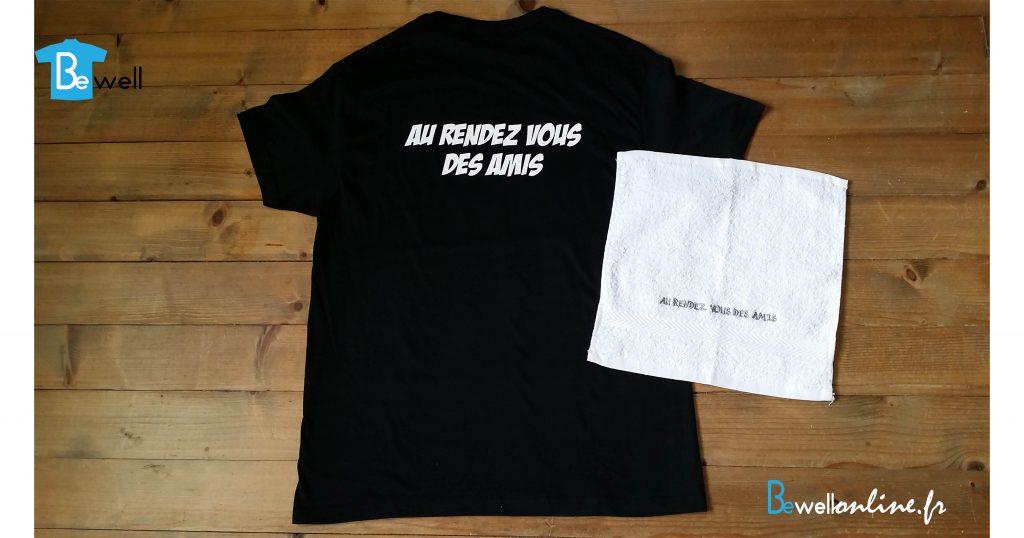 flex et broderie sur t-shirt et serviette