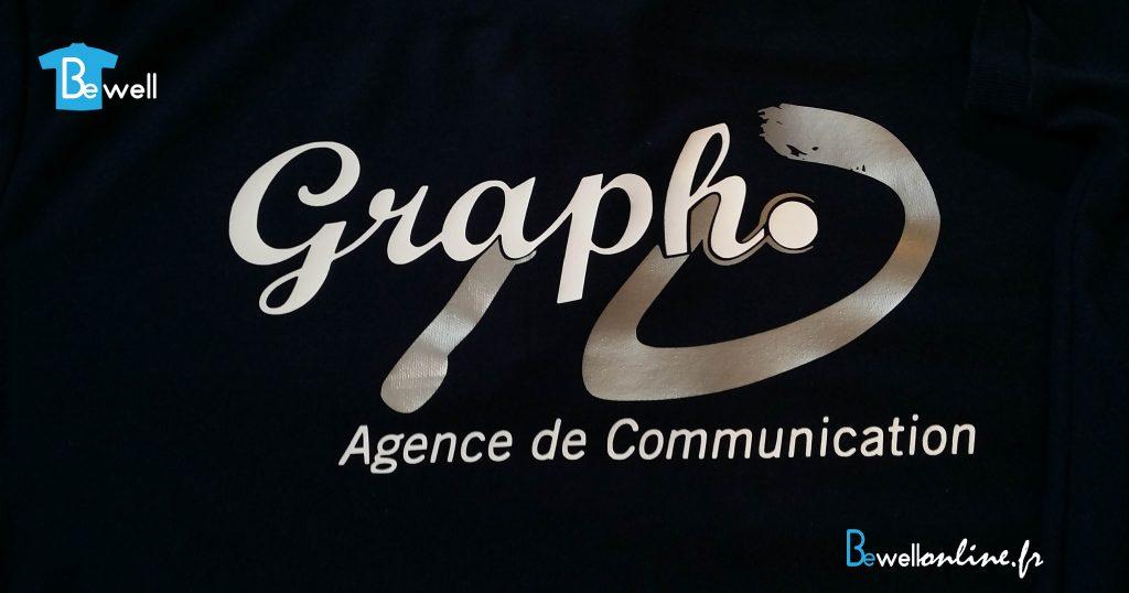 logo flocage argenté sur polo bewellonline