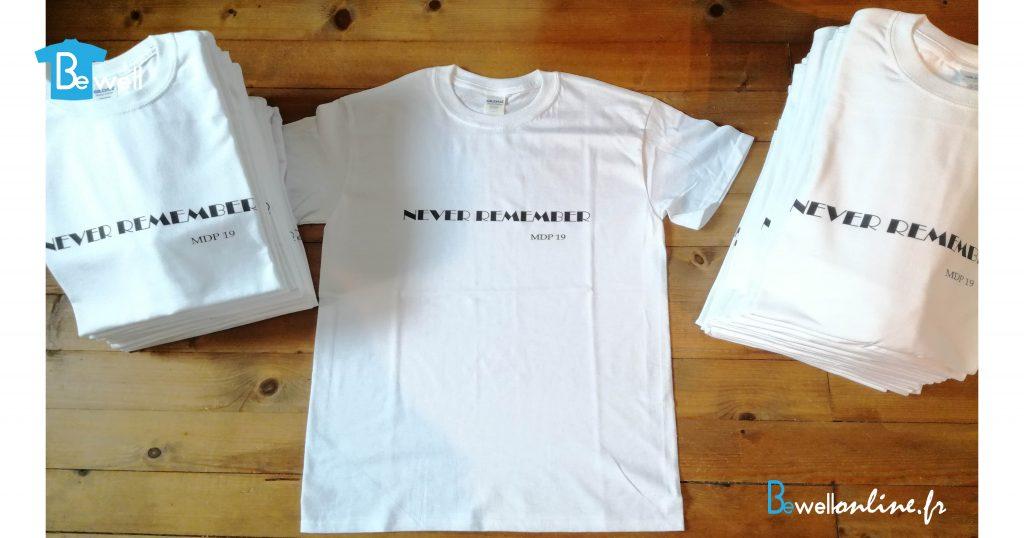 Impression numérique directe texte sur t-shirt bewellonline