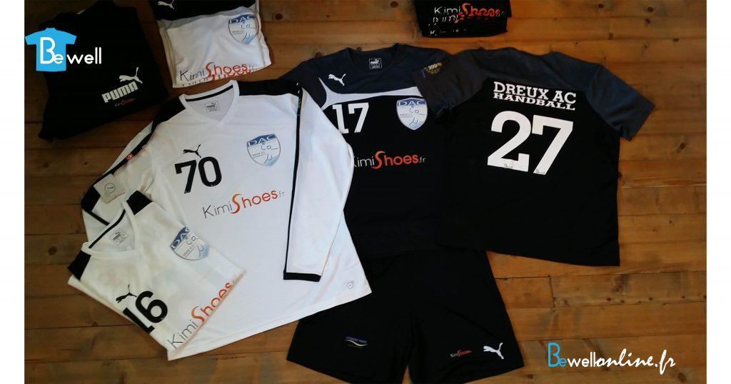 transfert serigraphique multicouleur sur maillot de sport équipe handball dreux bewellonline