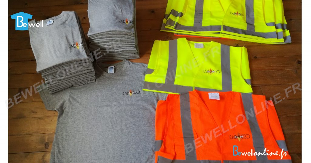 Transfert sérigraphique sur t-shirt et gilet de sécurité